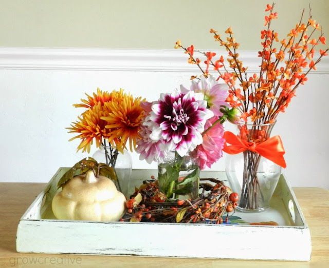 Fall Flower and Pumpkin Centerpiece