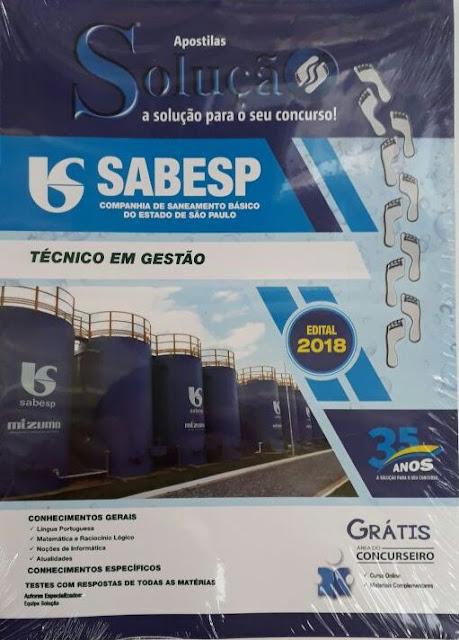 Sabesp - técnico  em gestão, valor R$55,00