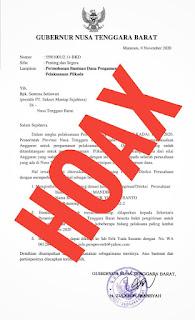 Hoax Surat Permintaan Dana Pilkada, Gubernur Dirugikan