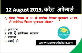 Daily Current Affairs Quiz 12 August 2019 in Hindi