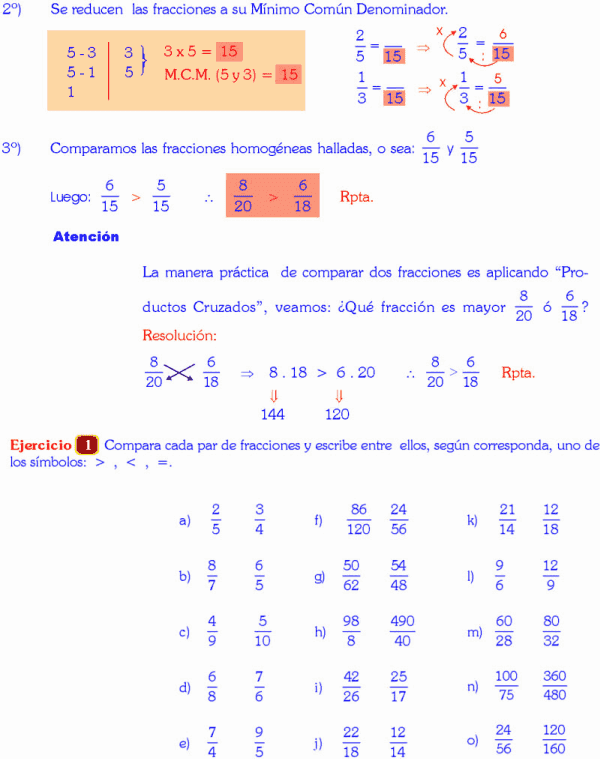 Comparación De Fracciones Ejemplos Y Ejercicios Resueltos Relación De Orden De Mayor A Menor