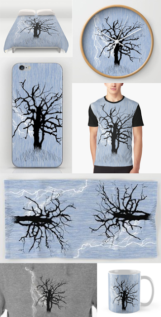 Silhouette of a bare tree in a storm in drawing by Susan Phillips Hicks of Melasdesign.