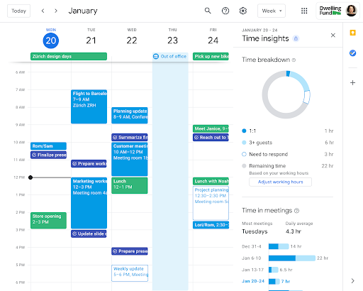 Time Insights in Google Calendar appearing on the right side of a week view