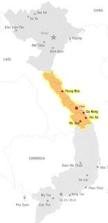 Mappa del Vietnam centrale