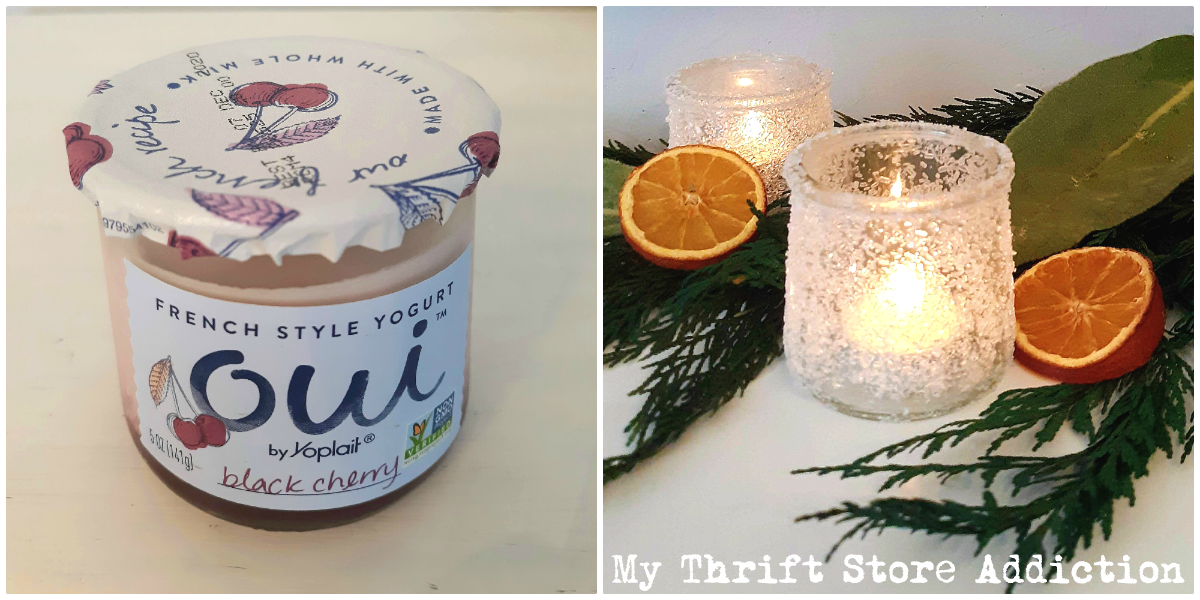 DIY frosted candle holders