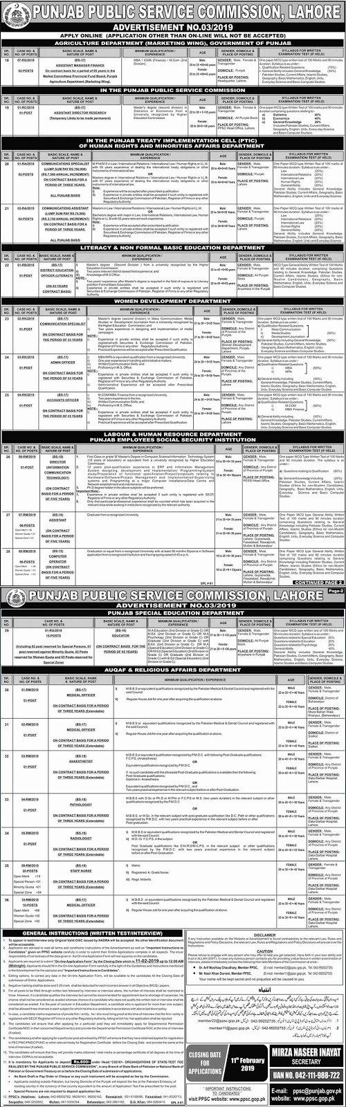 Jobs Vacancies In Punjab Public Service Commission PPSC 27 January 2019
