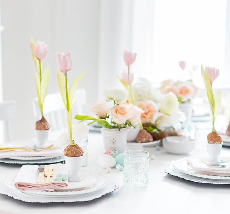 Esempio di come decorare la tavola di Pasqua