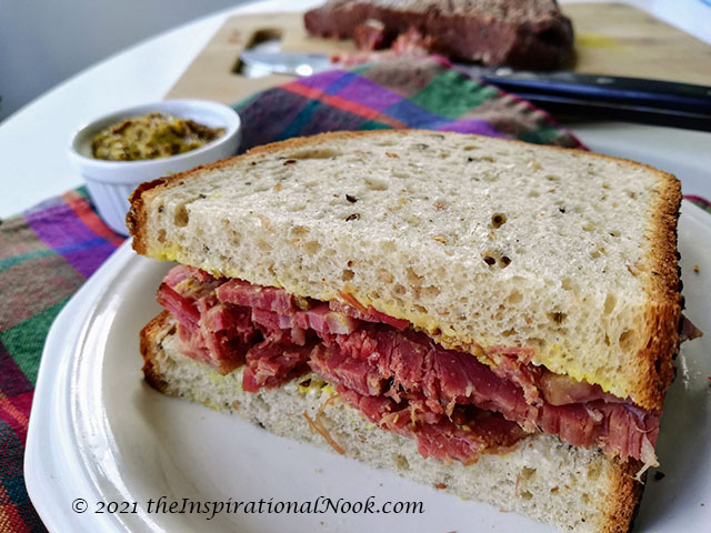 Salt Beef and mustard on rye sandwich , Irish Corned Beef sandwich with mustard, Salt meat, brined meat, preserved meat with curing salt
