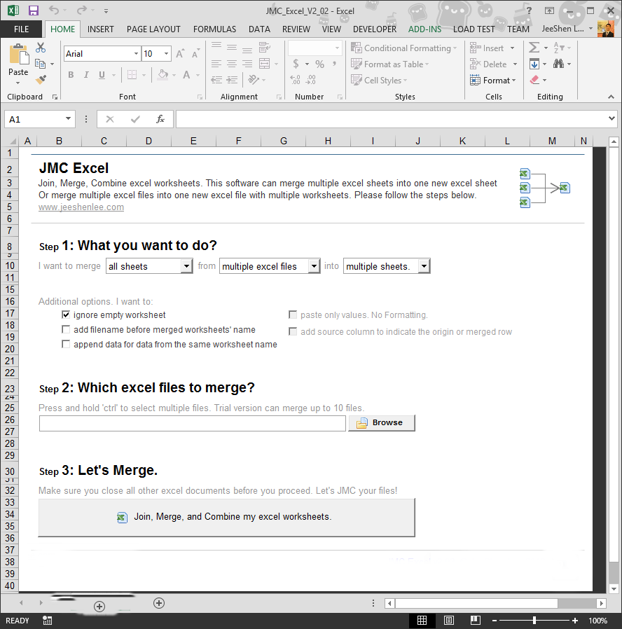 Workbooks macro to combine worksheets : JMC Excel – Join, Merge, Combine multiple Excel sheets or Excel ...