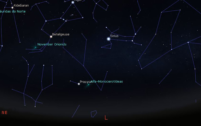 radiante da chuva de meteoros monocerotideas - possivel tempestade de meteoros