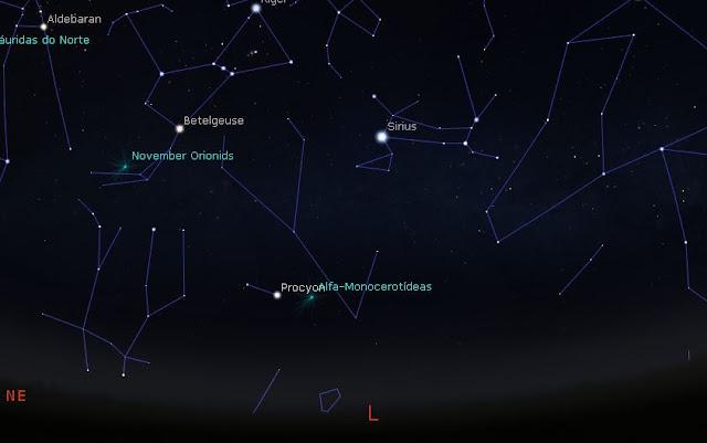 radiante - região do céu onde vai acontecer a possivel tempestade de meteoros