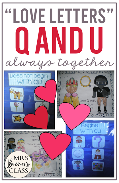 Q and U activities to teach that Q and U are always together in words, with literacy centers and activities for Kindergarten and First Grade