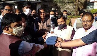 भारतीय खदान मजदूर संघ द्वारा किया गया धरना प्रदर्शन, कोयला मंत्री प्रहलाद जोशी के नाम सौंपा गया ज्ञापन