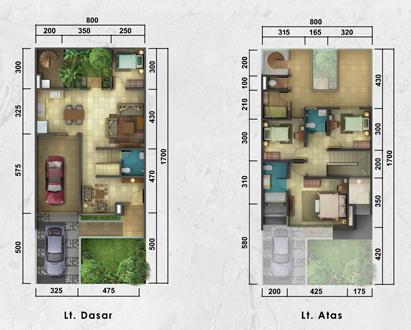 lingkar warna: 3 denah rumah minimalis ukuran 8x17 meter 5