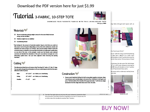 Download the printable pattern today! | 3-10 Tote | The Inspired Wren