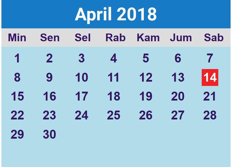 Kalender Bulan April : Kalender beserta hari libur nasional beritauaja