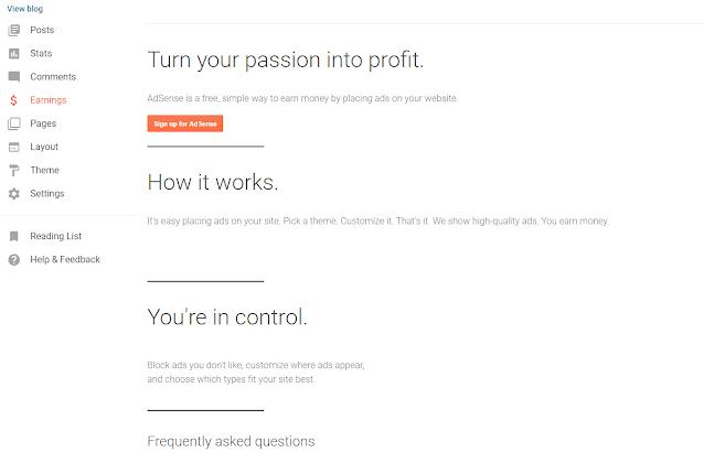 Applying for Google Adsense in Blogger