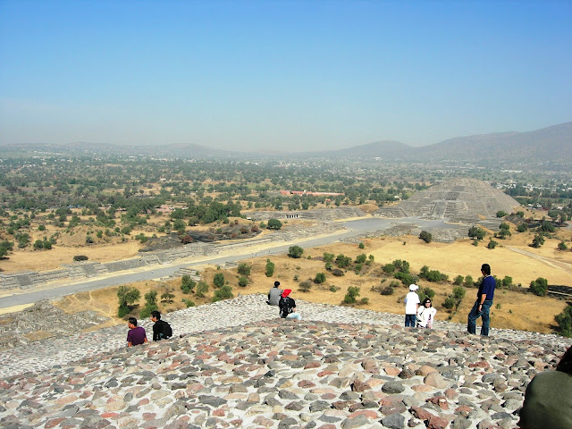 The Pyramid of the Moon seen from the top of the Pyramid of the Sun.