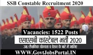 SSB Recruitment 2020  Sashastra Seema Bal Constable Vacancy 2020