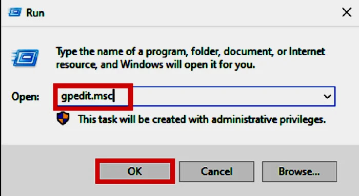 Opening Run Box for local group policy editor window