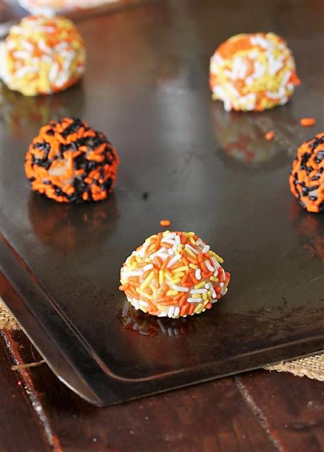Halloween Sprinkle Sugar Cookies Dough Ball Rolled in Sprinkles Image