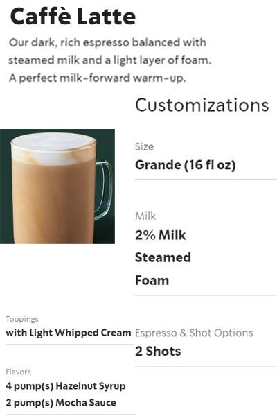 Starbucks order for @JLenniDorner