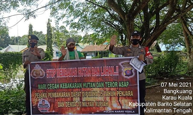 Komitmen Cegah Karhutla, Kanitsamapta Polsek Karau Kuala Rutin Laksanakan Patroli Sosialisasi