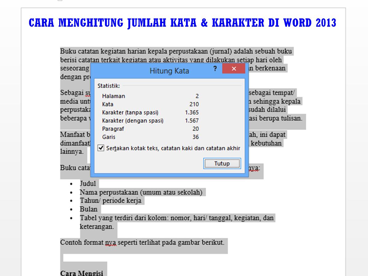 Cara Menghitung Jumlah Kata & Karakter di Word 2013