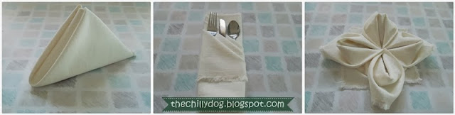 Three Napkin Folding Techniques: The Pyramid, The French Pleat and The Lotus or Rose