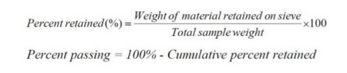 formula for calculating percent passing of fine aggregate