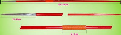 ukuran tongkat lempar lembing untuk perempuan