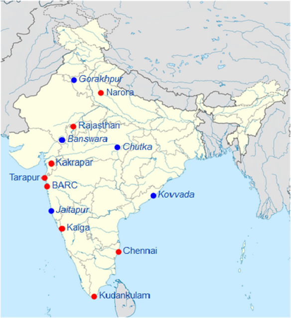 Nuclear Power Plant in India Map