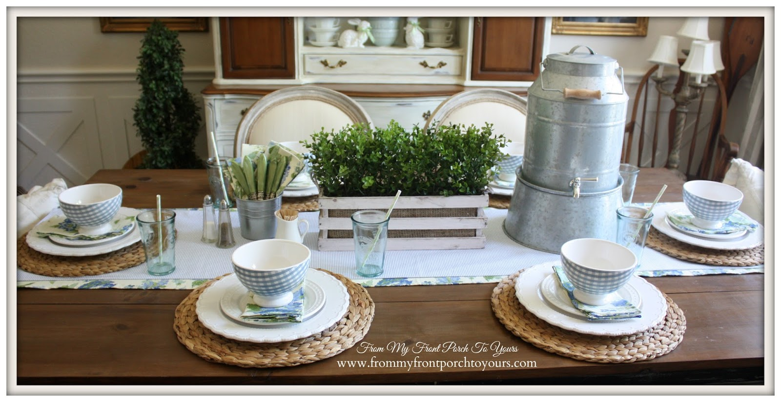 Farmhouse accents used to create a spring brunch table setting at From My Front Porch To Yours.
