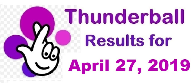 Thunderball results for Saturday, April 27, 2019
