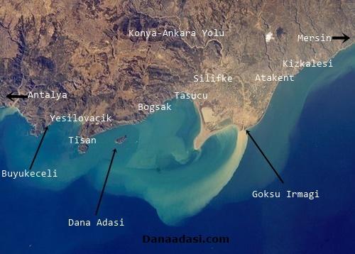 Dana Adası Uydu Fotoğrafları ve Dana Adası'nın Bulunduğu Bölge