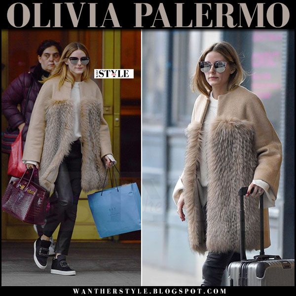 Olivia Palermo in camel fur max mara coat, black leather j brand edita leggings and black slip-on sneakers roger vivier what she wore