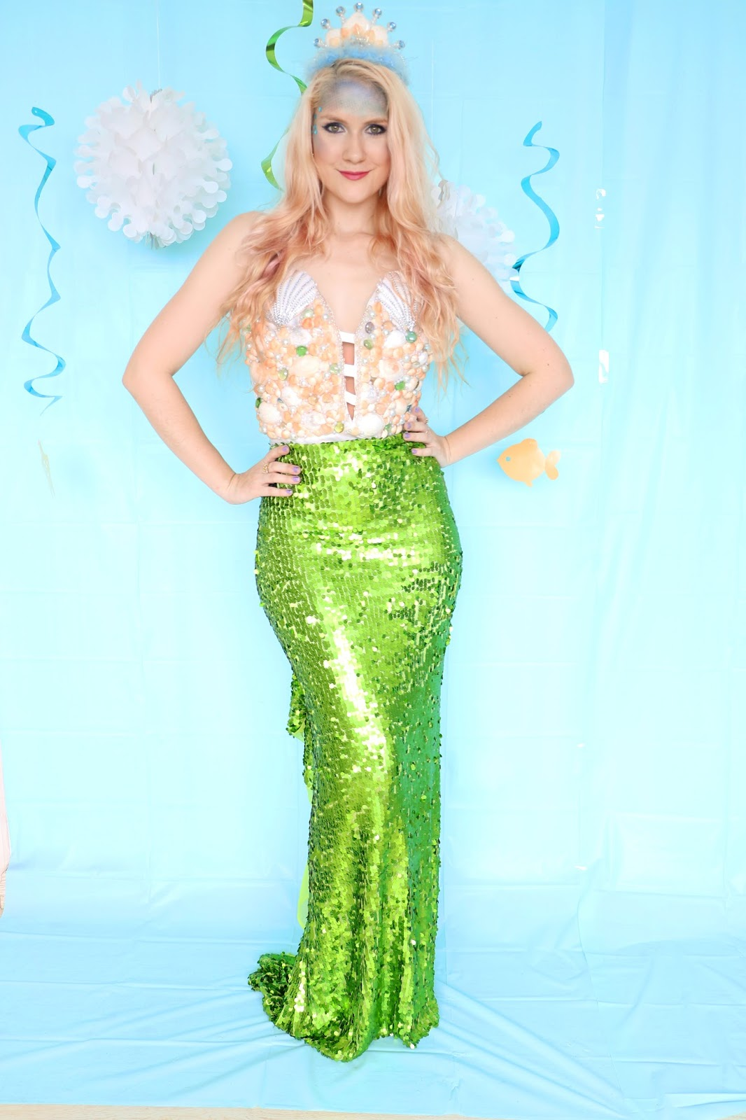 Easy no sew Mermaid Costume Tutorial for Halloween