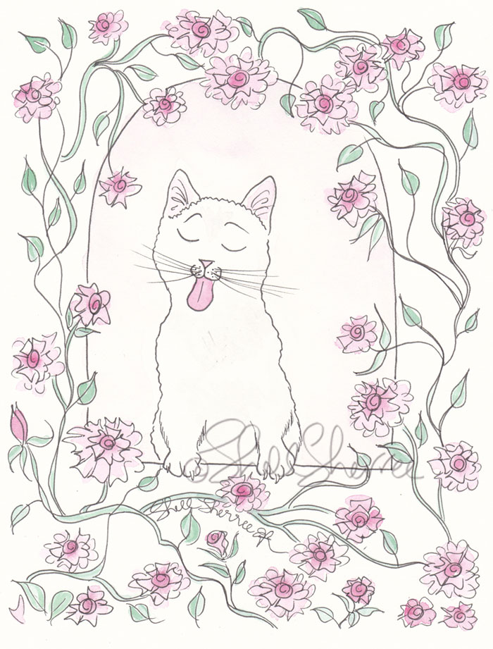 Juliet Balcony Kitty and Roses cat illustration  © Shell Sherree all rights reserved