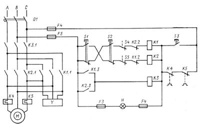 Схема управления электроприводом шлюпочной лебёдки