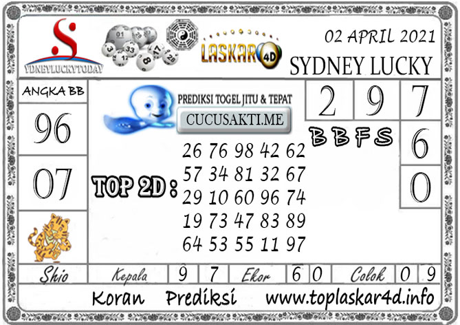 Prediksi Sydney Lucky Today LASKAR4D 02 APRIL 2021