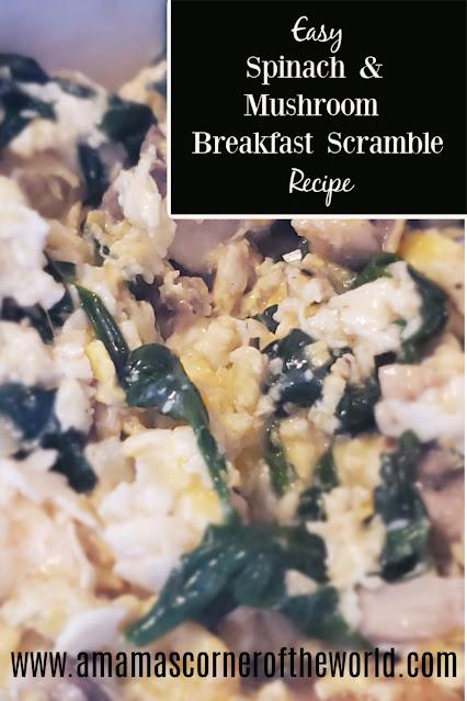 Pinnable image for a spinach & mushroom breakfast scramble recipe
