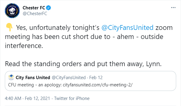 Chester FC forced to abandon Zoom meeting after broadcast interrupted by porn