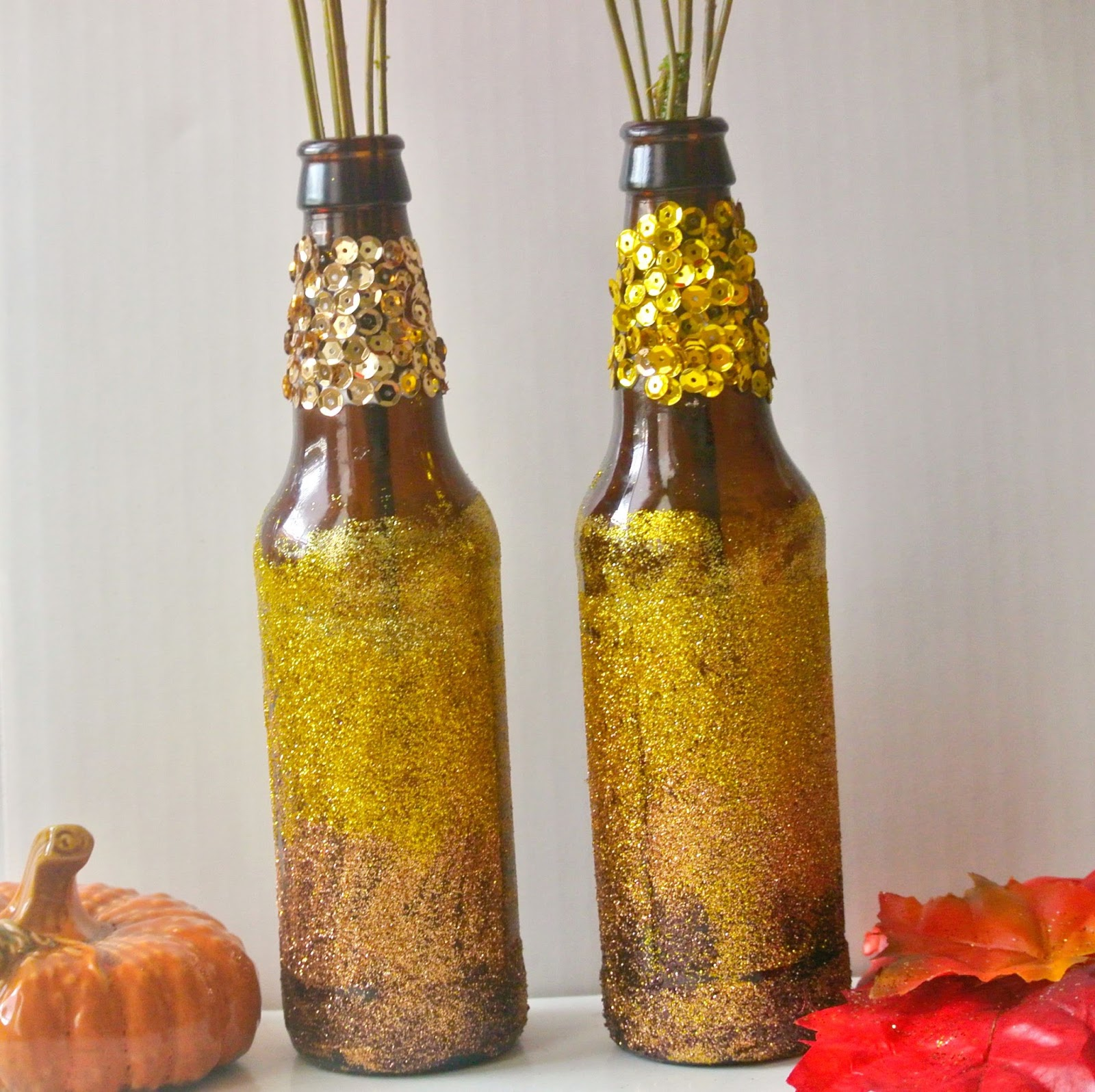 Decorate A Bottle: B Is 4: DIY Fall Recycled Bottle Decor {#TBC Crafters}