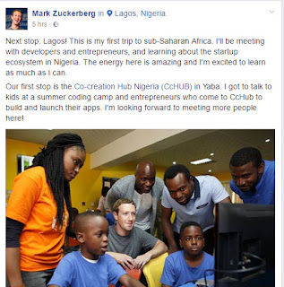 Mark Zuckerberg in Lagos, Nigeria (CCHub)