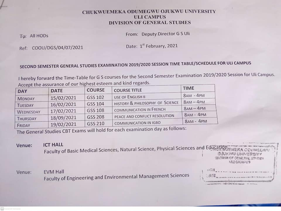 COOU [ANSU] GSS Exam Timetable for 2nd Semester 2019/2020