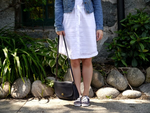 Casual outfit inspo: Cropped denim jacket, little white dress, crossbody bag, Keds sneakers