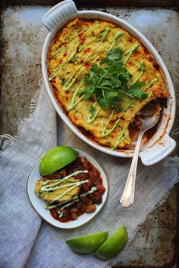 http://potluck.ohmyveggies.com/chili-polenta-pot-pie-2-ways/
