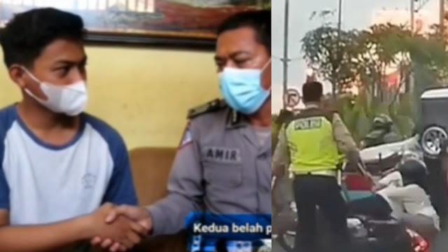 Polisi yang Dorong Pemotor Hingga Terjungkal Berakhir Damai, Pemotor Dikenakan Sanksi