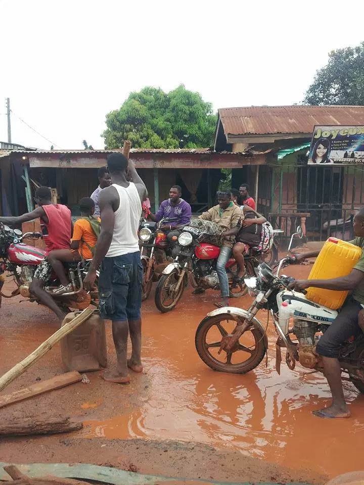 Ifite Road in Anambra capital, Awka, is so bad that okada riders are fixing it themselves