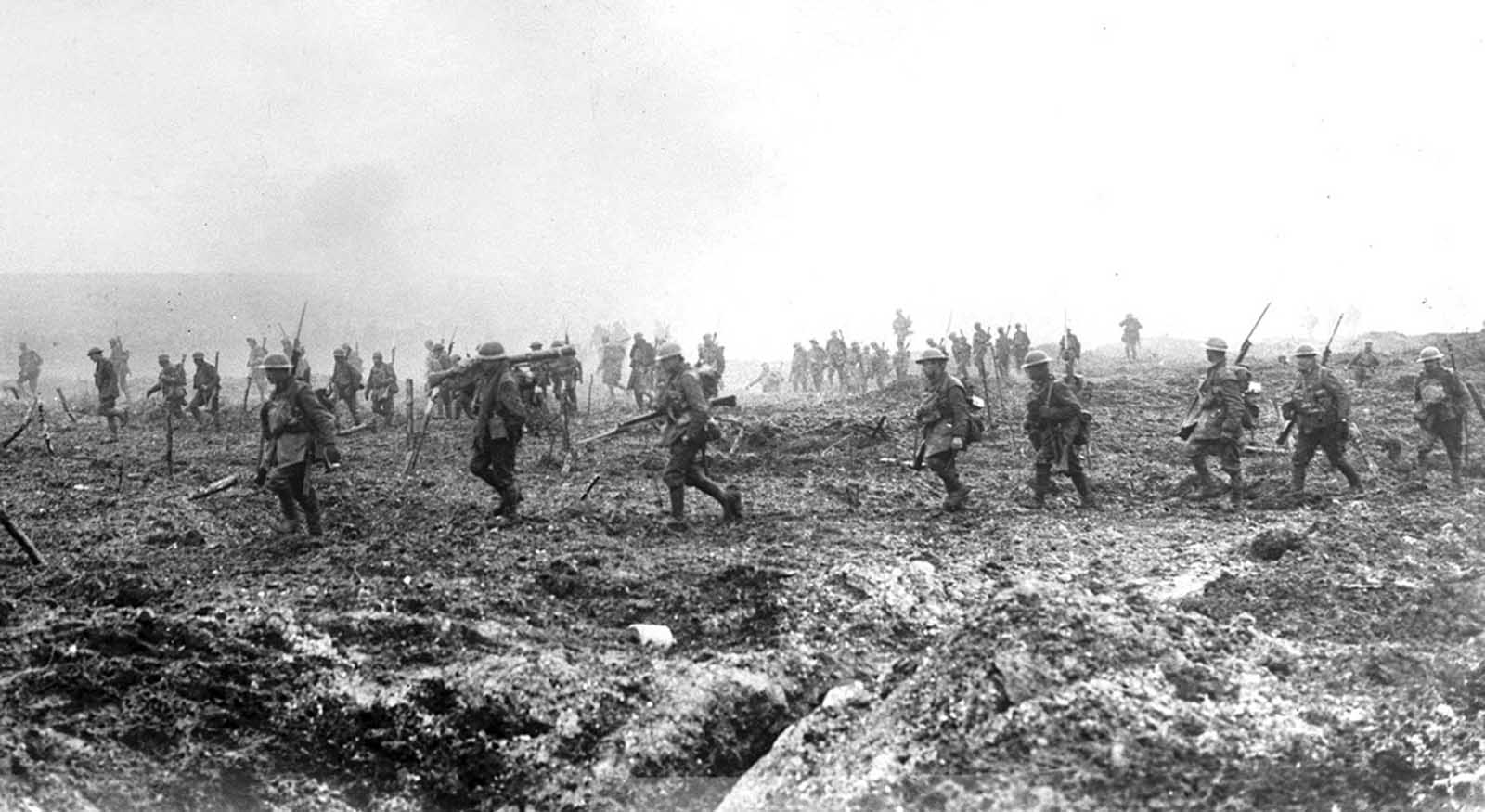 British soldiers on Vimy Ridge, 1917. British and Canadian forces pushed through German defenses at the Battle of Vimy Ridge in April of 1917, advancing as far as six miles in three days, retaking high ground and the town of Thelus, at the cost of nearly 4,000 dead.